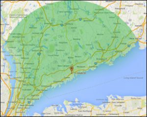 Amici Power Solutions' radius of service map